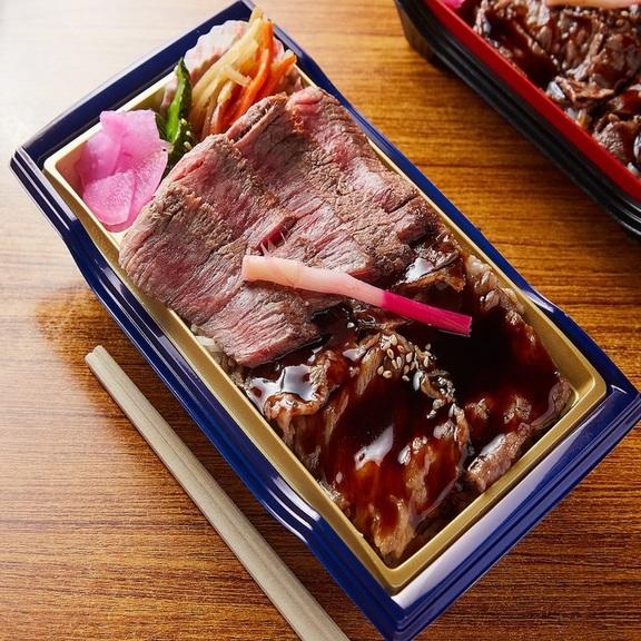 赤身ステーキとロース焼肉弁当